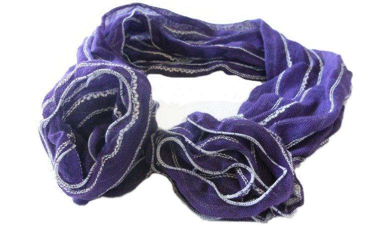 コサージュ付き綿スカーフ