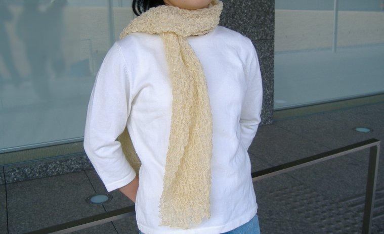 エクスラン角目メッシュ袋編みマフラー(全6色)